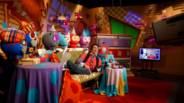 Jimmy Giggle (James Rees) and puppeteers on the set of the show's final taping on Thursday.