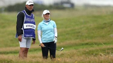 Steph Kyriacou  with her dad and caddie Nick Kyriacou at the Women's Open at Royal Troon.