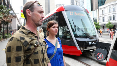 Glebe residents Tim and Franzi Mueller enjoyed their first trip on the light rail line but say it was 'just a little slow'.