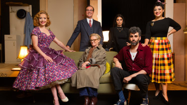Nikki Shiels, Toby Truslove, Jane Turner, Izabella Yena, Peter Paltos and Susie Youssef in Home, I'm Darling.