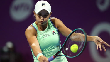 Ashleigh Barty returns a backhand against Petra Kvitova at the WTA Qatar Total Open.