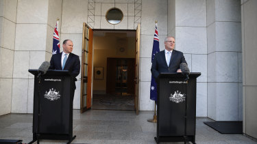 Prime Minister Scott Morrison and Treasurer Josh Frydenberg announce the Jobkeeper payment.