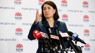 """Premier Gladys Berejiklian says the health system's """"surge capacity, we estimate, is in excess of what we will need""""."""