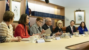 Prime Minister Scott Morrison and Minister for Women Marise Payne, centre, led the first meeting of cabinet's new women's taskforce.