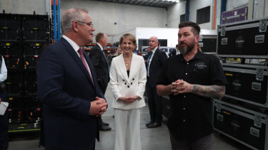 Prime Minister Scott Morrison talks to Creative Productions owner Dave Jackson in July.
