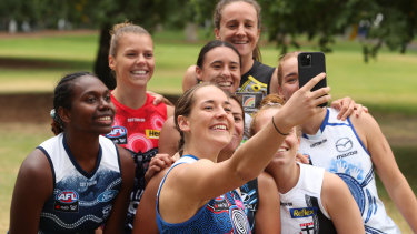 Isabel Huntington of the Bulldogs takes a selfie during the AFLW Indigenous Round Media Opportunity on Tuesday.