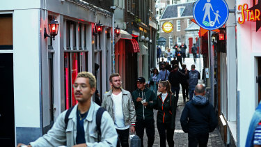 The Red Light District in Amsterdam in early July.