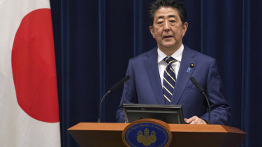 Japanese Prime Minister Shinzo Abe addresses the nation about coronavirus on Saturday.