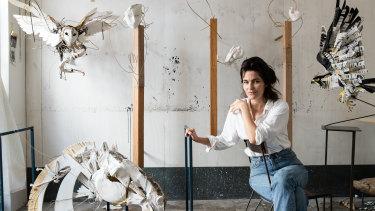 Artist Anna-Wili Highfield in her Sydney studio.