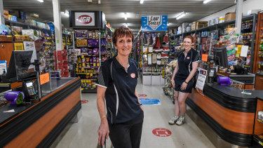 Charlton supermarket owner Alison Tormey with employee Megan Bruns.
