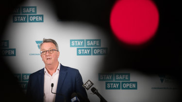 Red light: Health Minister Martin Foley strongly discouraged travel between Victoria and Sydney.