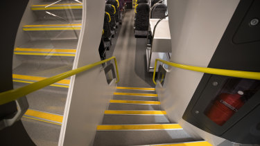 The stairs on the new trains are easier to climb than on the state's old V-sets.
