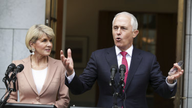 Obvious remedy: Julie Bishop and Malcolm Turnbull face the media after the leadership spill.