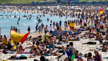 Bondi Beach was close to full capacity on Monday as Sydneysiders made the most of the public holiday.