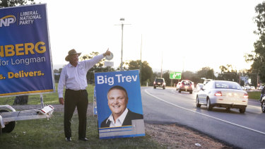 The LNP candidate for Longman, Trevor Ruthenberg, campaigning in Caboolture on Tuesday.
