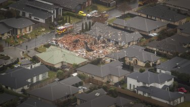An aerial view of the Northwood house destroyed in the gas explosion.