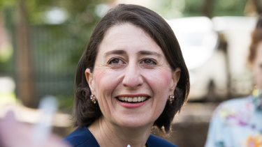 Premier Gladys Berejiklian at a press call  on Sunday following her election victory.