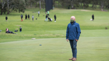 Darebin councillor Trent McCarthy on Northcote golf course, which is being used as a popular park while golf is banned.