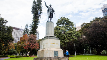 The statue of Captain Cook in Hyde Park, which was defaced last month.