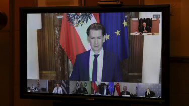 Austrian Chancellor Sebastian Kurz during a meeting of the First Movers group comprised of world leaders including Prime Minister Scott Morrison.