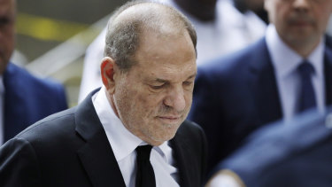 The disgraced Harvey Weinstein arrives at court in August.