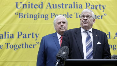 Seantor Brian Burston with Clive Palmer at a press conference on Monday.