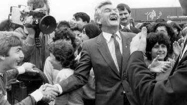 Bob Hawke campaigning for election in 1984.