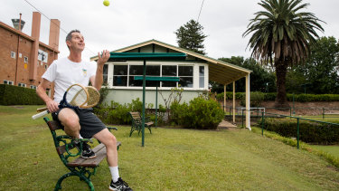 What goes up: real tennis player Chris Cooper at the Cheltenham Recreation Club where a new court is likely to be built.