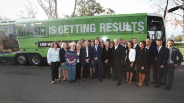 Opposition Leader Bill Shorten together with Labor caucus pose for photos at the Gonski showcase.