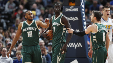 Thon Maker playing for Milwaukee in the NBA.