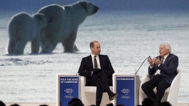 Prince William and Sir David Attenborough at Davos.