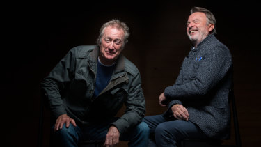 Bryan Brown and Sam Neill, two of the leads in Palm Beach, who are in real life great mates.