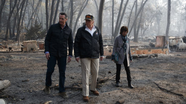 California Governor-elect Gavin Newsom, President Donald Trump and Paradise mayor Jody Jones in Paradise, California.