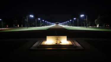 The Stone of Remembrance and the empty forecourt ahead of the Anzac Day commemorative service at the Australian War Memorial in Canberra on Saturday.