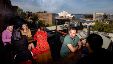 The Rocks was the first area in Sydney to trial the relaxation of rules around outdoor eating and drinking.