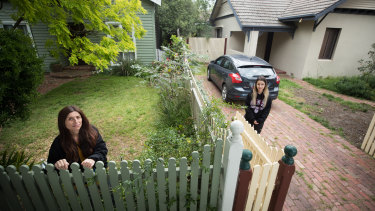 Leah Tsagaratou in front of her family home which will be acquired by the state government. Her niece Millie Tsagaratos lives with her family next door.