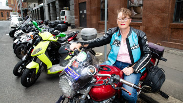 Cyndie Murphy commutes into the city on her motorcycle up to four times a week.