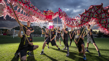 Canberra Dragon Dance members finish a training session at the University of Canberra.