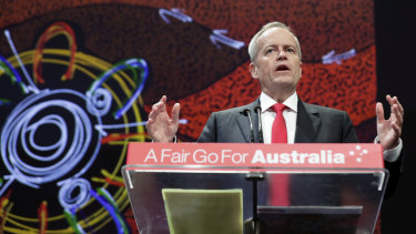 Opposition Leader Bill Shorten on the second day of the Labor conference.