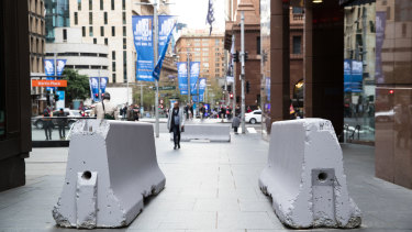 Concrete bollards installed in Martin Place, 2017.