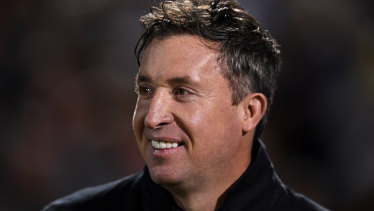 Brisbane Roar coach Robbie Fowler was all smiles after the win over Sydney FC.