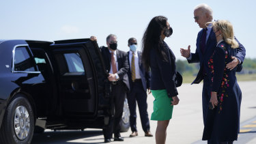 President Joe Biden speaks with Representative Rashida Tlaib, a Palestinian-American and one of the progressive members of the Democrats who opposes blind support for Israel.