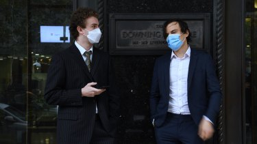 Jordan Shanks (right) and Kristo Langker outside Downing Centre Local Court on Wednesday.