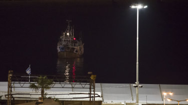 The boat bound to Gaza Strip and intercepted by Israeli navy arrives to Ashdod port, Israel, on Sunday.