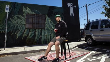 Andrew Fineran, of Batch Brewing in Marrickville, takes a seat in the car park he hopes will soon host customers.