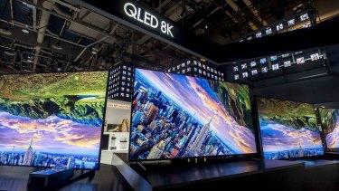 Samsung 8K LCD TVs at CES in Las Vegas.