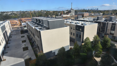 The site is filling rapidly with townhouses and stand-alone dwellings.
