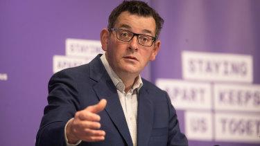 Premier Daniel Andrews announces the stage four business restrictions on Monday.