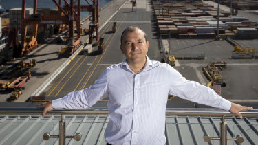 Patrick CEO Michael Jovicic, overlooking Port Botany, says a union dispute is delaying containers.