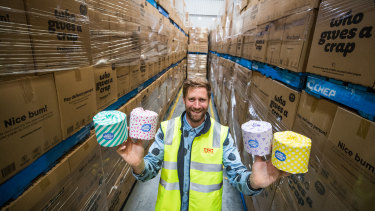 The founder of Who Gives a Crap toilet paper, Simon Griffiths, is bemused by the surge in sales.
